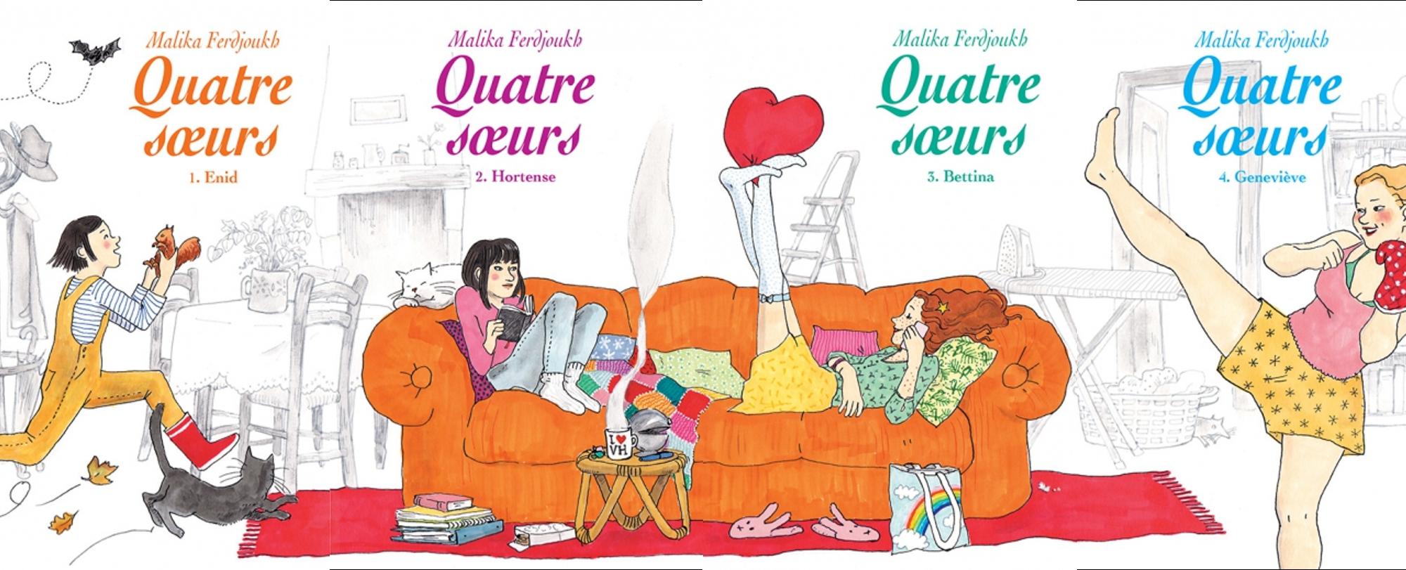 4 couvertures des Quatre soeurs de Malika Ferdjoukh